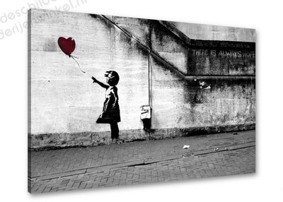 Schilderij Balloon Girl [BANKSY Graffiti Art] (80x60cm)