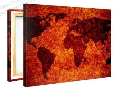 Schilderij Wereldkaart Fire (100x75cm)
