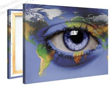 Schilderij Wereldkaart Wereldoog (100x75cm)