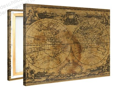 Schilderij Wereldkaart Nostalgia (100x75cm)