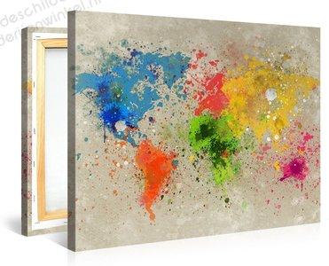 Schilderij Wereldkaart Explo Waterverf (100x75cm)