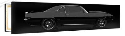 Schilderij Ford Mustang Zwart (120x30cm) [Premium Collectie]