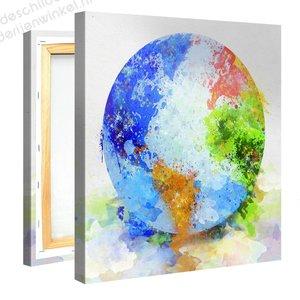 Schilderij Wereldbol Kleurrijk (80x80cm)