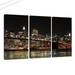 Schilderij City by night XXL 3-delig (160x90cm)