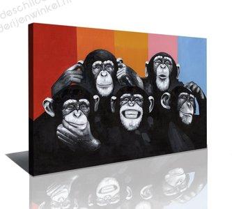 Schilderij De Apen Club (80x60cm)