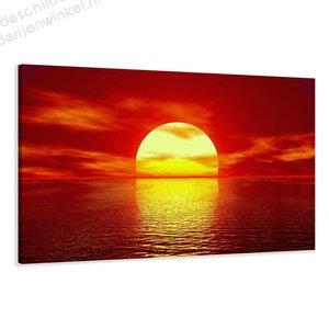Schilderij Ondergaande zon in zee (80x60cm)