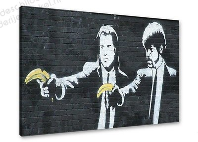 Schilderij Pulp Fiction Bananas [BANKSY Graffiti Art] (80x60cm)