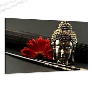 Schilderij Buddha met bloem XL (120x80cm)