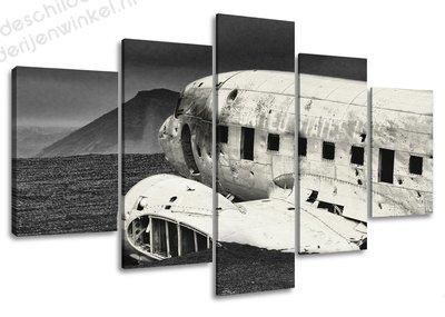 Schilderij Oud Vliegtuig XXL 5-delig (160x80cm)