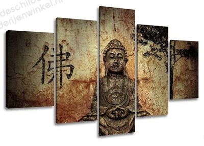 Schilderij Chineese Boedha XXL 5-delig (160x80cm)