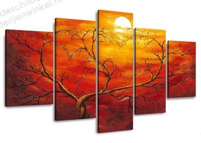Schilderij Oranje Boom XXL 5-delig (160x80cm)