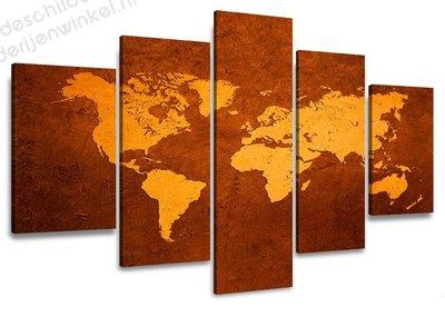 Schilderij Wereldkaart Brass XXL 5-delig (160x80cm)