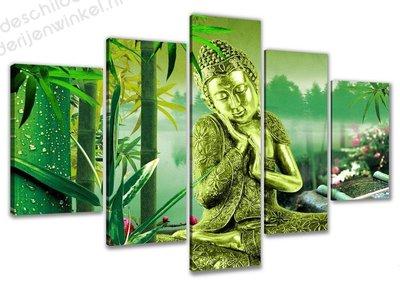Schilderij Groene Buddha XXL 5-delig (160x80cm)