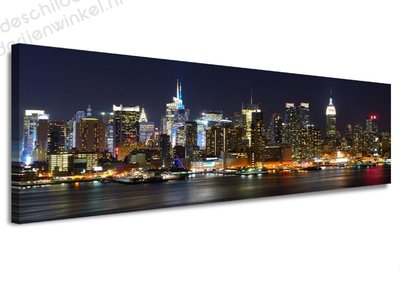 Schilderij New York Nightfall (120x40cm)