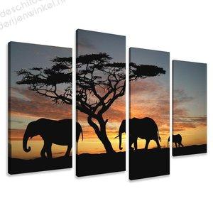 Schilderij Afrika Olifanten XL 4-delig (130x80cm)