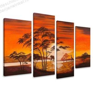 Schilderij Afrika Geel XL 4-delig (130x80cm)