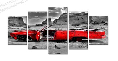 Schilderij Rood Auto Wrak XXL 5-delig (200x100cm)