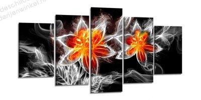 Schilderij Vuurbloemen XXL 5-delig (200x100cm)