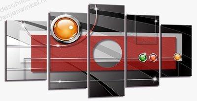 Schilderij Buttons Abstract XXL 5-delig (200x100cm)