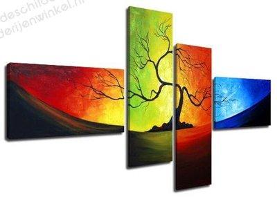 Schilderij Tree of light XL 4-delig (160x70cm)