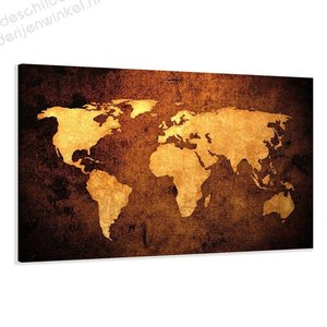 Schilderij Wereldkaart Bronze XL (120x80cm)